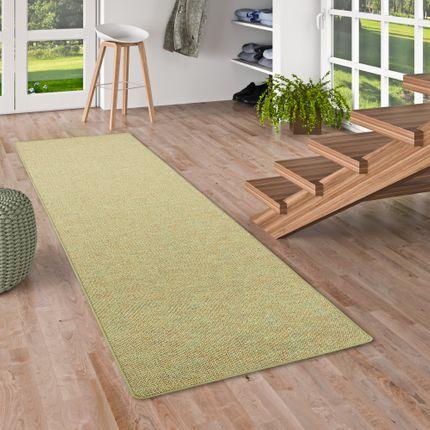 Läufer Teppich Schlingen Teppich Alma Grün Meliert