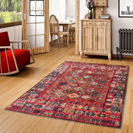 Designer Teppich Vintage Zoe Orient Modern Rot Bordüre