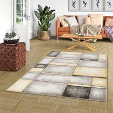 Designer Teppich Pastell Ivy Grau Gelb Karo online kaufen