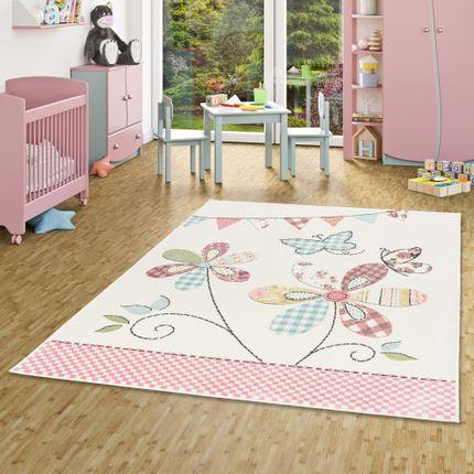 Kinder Teppich Pastell Ivy Bunt Blumen Schmetterling