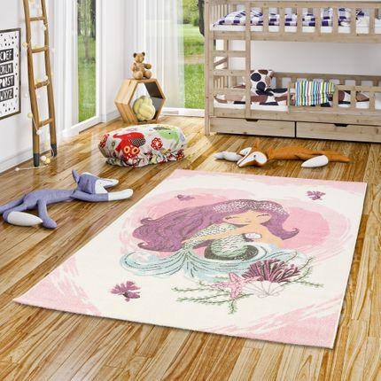 Kinder Teppich Maui Kids Meerjungfrau Pink Creme