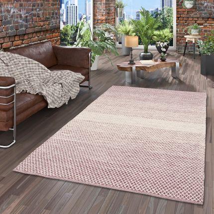 Baumwolle Natur Kelim Teppich Sandy Purple Meliert
