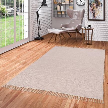 Baumwolle Natur Kelim Teppich Sandy Rosa Stripes