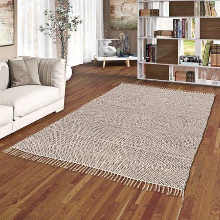 Baumwolle Natur Kelim Teppich Sandy Beige Grau Stripes