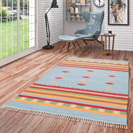Baumwolle Natur Kelim Teppich Lina Blau Stripes