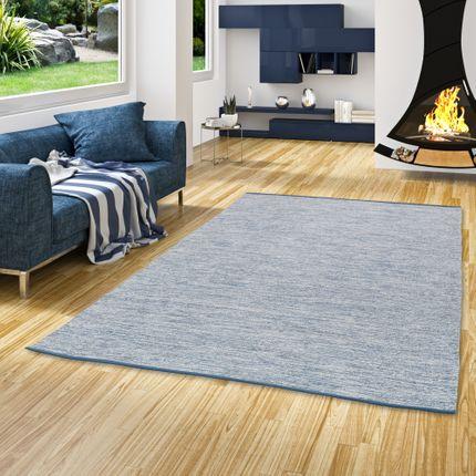 Baumwolle Natur Kelim Teppich Easy Blau Meliert