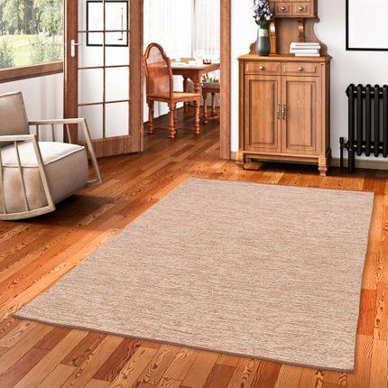 Baumwolle Natur Kelim Teppich Easy Beige Meliert