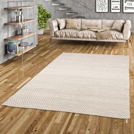 Baumwolle Natur Kelim Teppich Sandy Grau Meliert