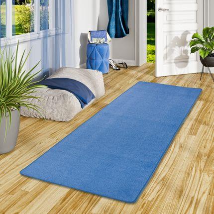 Trend Velours Läufer Teppich Joy Blau