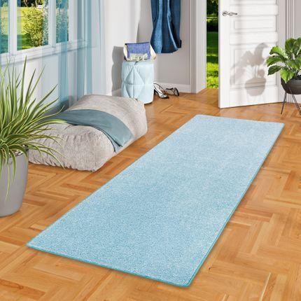 Hochflor Langflor Teppich Läufer Cottage Pastell Blau
