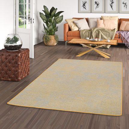Streifenberber Teppich Lines Gelb Grau Meliert
