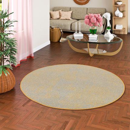 Streifenberber Teppich Lines Gelb Grau Meliert Rund