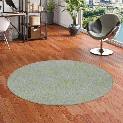 Streifenberber Teppich Lines Grün Meliert Rund