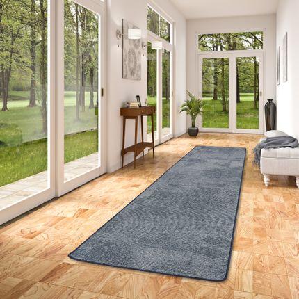 Streifenberber Teppich Läufer Lines Blau Meliert