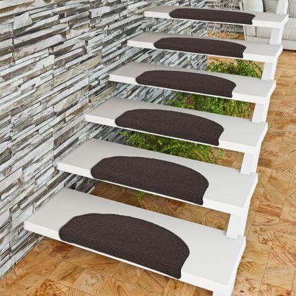 Natur Sisal Stufenmatten Schwarz (halbrund) in 2 Größen