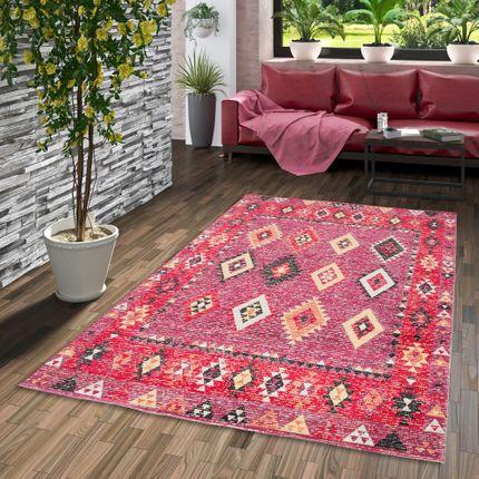 Designer Teppich Vintage Zoe Orient Ethno Orange Pink