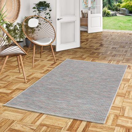 In- und Outdoor Teppich Flachgewebe Carmel Blau Bunt Karo