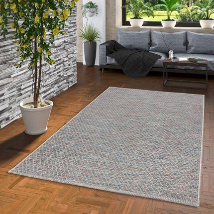 In- und Outdoor Teppich Flachgewebe Carmel Blau Meliert