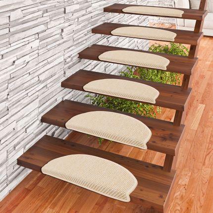 Bentzon Flachgewebe Stufenmatten Beige  (halbrund) in 2 Größen