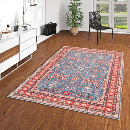 Luxus Orient Teppich Primus Blau Bordüre