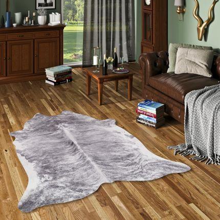 Kunstfaser Teppich Rinderfell Anthrazit