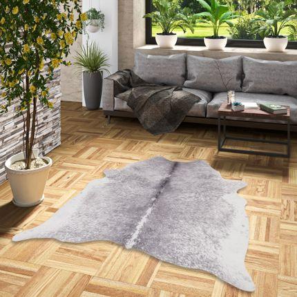 Kunstfaser Teppich Rinderfell Grau