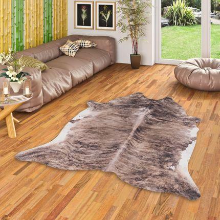 Kunstfaser Teppich Rinderfell Braun Beige