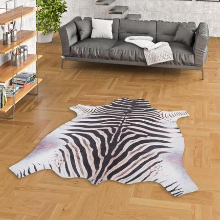 Kunstfaser Teppich Zebra Schwarz Weiss