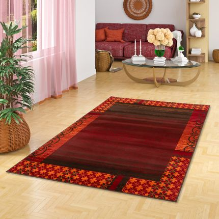 Designer Teppich Samba Modern Rot Orange Bordüre