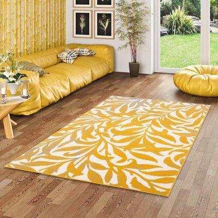 Designer Teppich Samba Modern Curry Gelb Flower