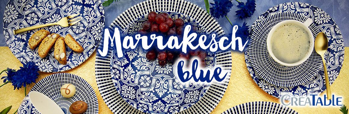 Kombiservice Marrakesch, blau/weiß (1 Set, 30-teilig)