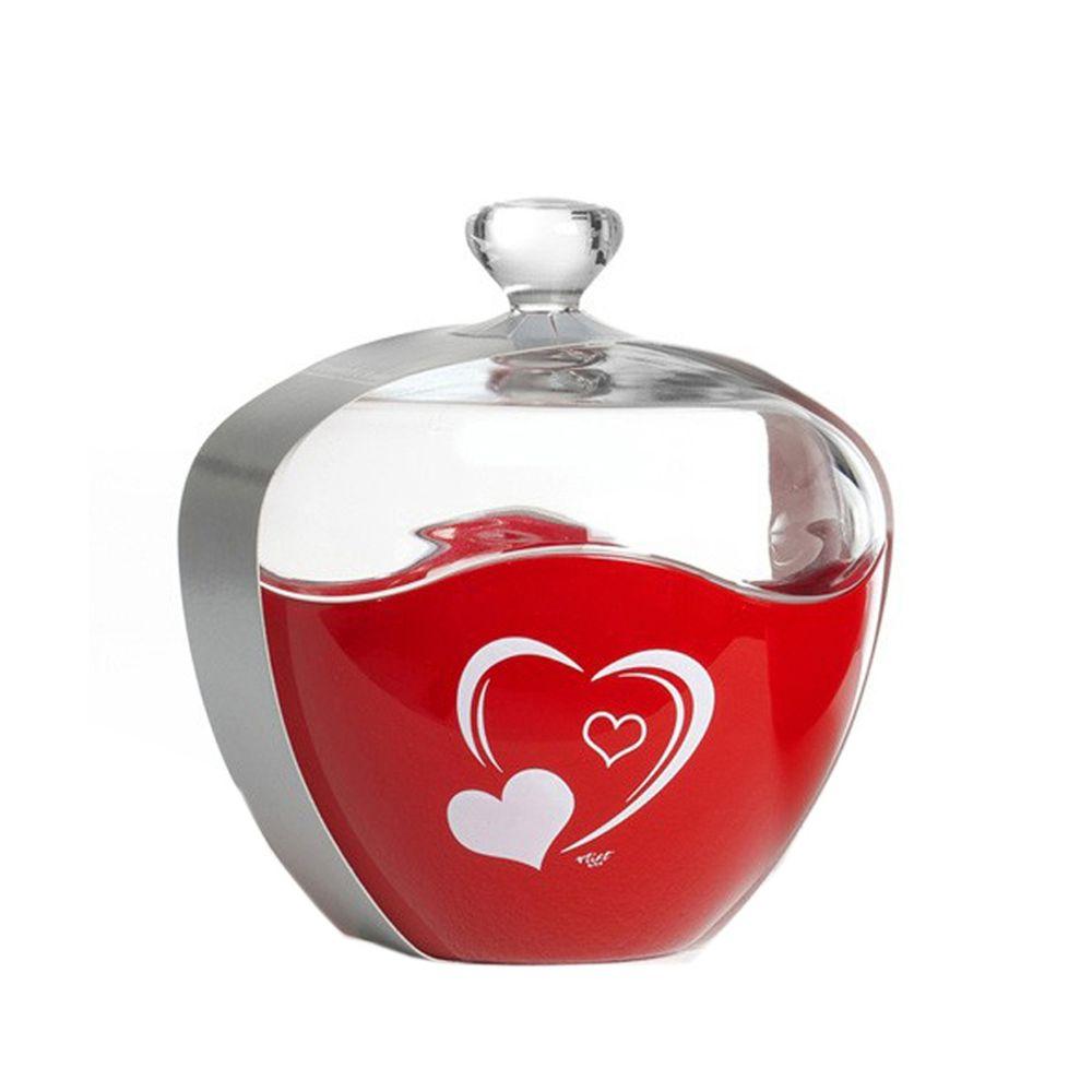 "Flirt by R&B 689624 ""Herz"" Konfektdose aus Glas, rot (1 Stück)"
