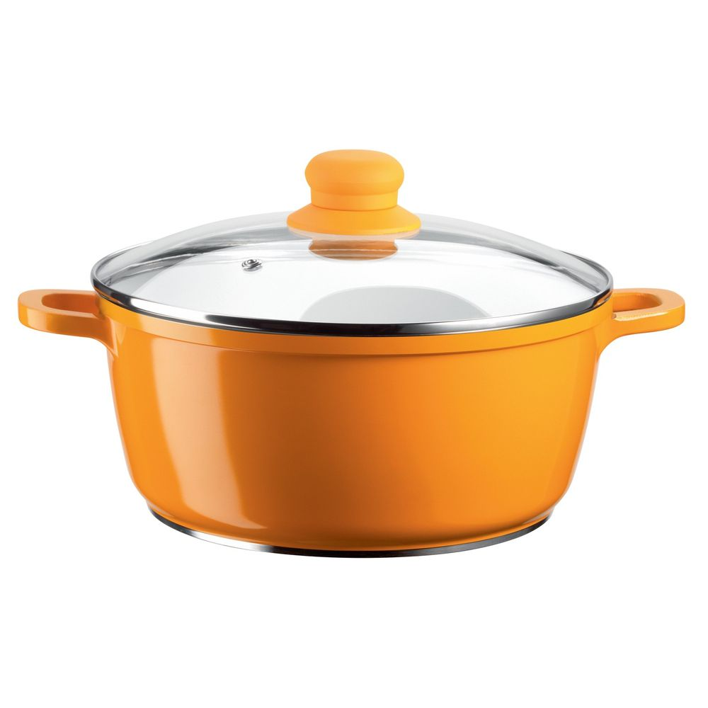"Domestic Top Selection 926560 ""Alioth"" Kochtopf Ø 24cm mit Glasdeckel, orange, 2-teilig (1 Set)"