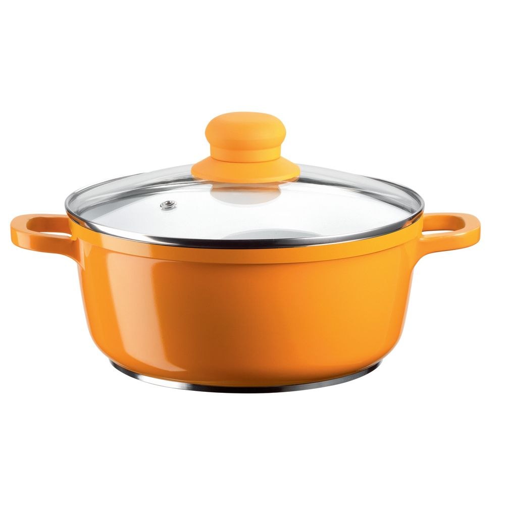 "Domestic Top Selection 926559 ""Alioth"" Kochtopf Ø 20cm mit Glasdeckel, orange, 2-teilig (1 Set)"
