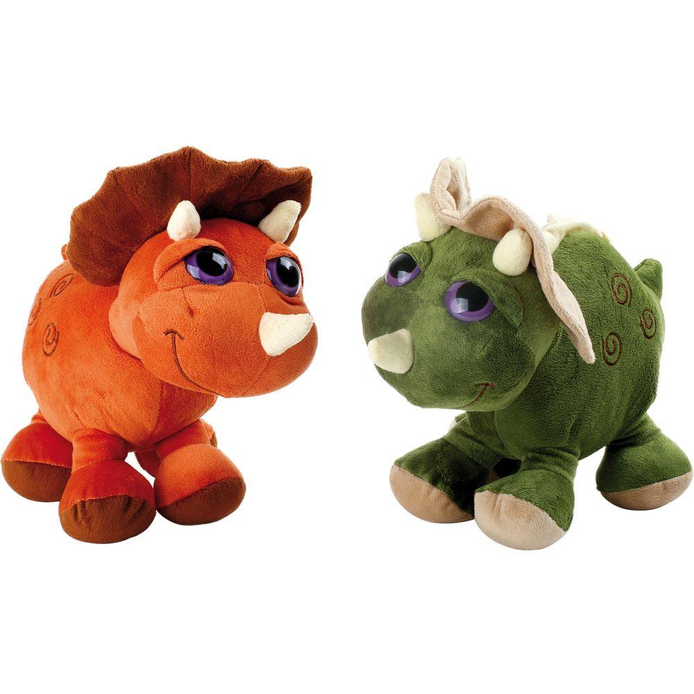 Small Foot 2819 Kuscheltier Dino Triceratops, orange/grün, 2-teilig (1 Set)