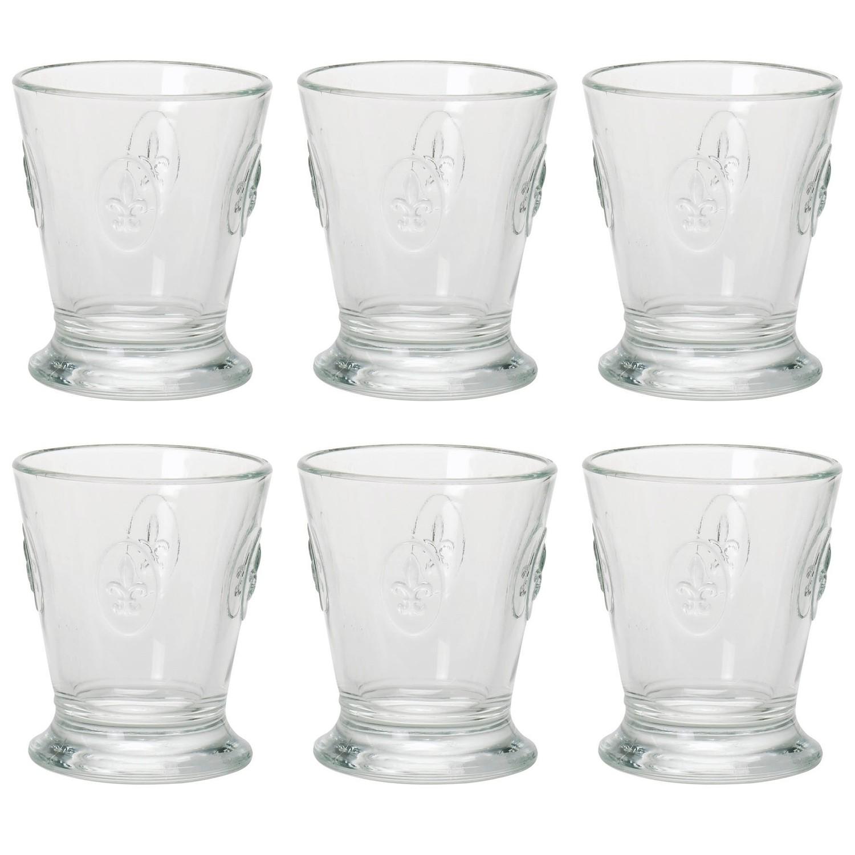 la roch re 6291 01 fleur de lys whiskyglas mit lilienbl ten 250ml klar 6 st ck. Black Bedroom Furniture Sets. Home Design Ideas