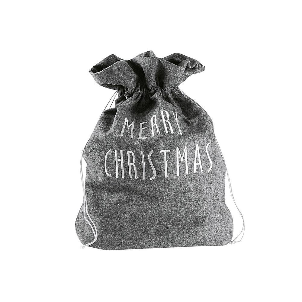 "Filz-Sack ""Merry Christmas"" 40 x 15/50 cm, grau (1 Stück)"
