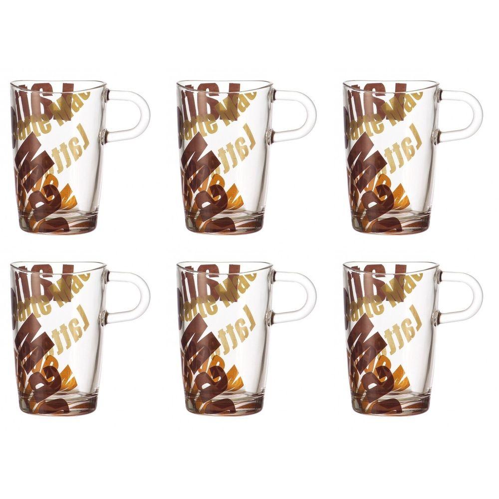 Latte Macchiato Tasse, Glas mit Print, 400ml, H ca. 12,5cm
