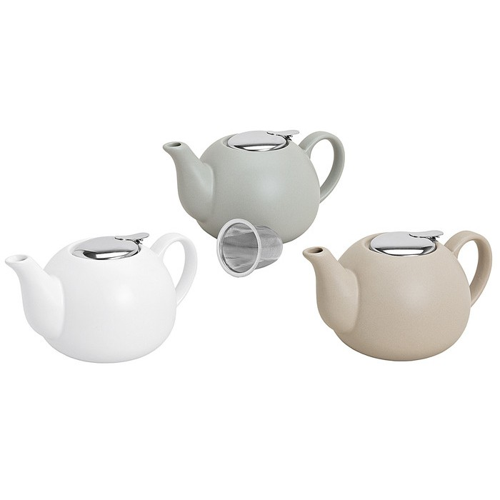 Teekanne matt Metallsieb 1,25l