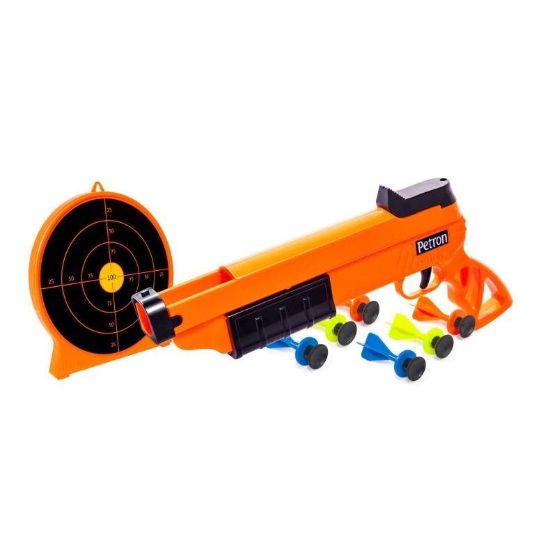 "Petron 162/4C ""SURESHOT"" Combo Pack Kinder Pump Action Pistole + Zielscheibe, orange/schwarz (1 Set) – Bild 1"