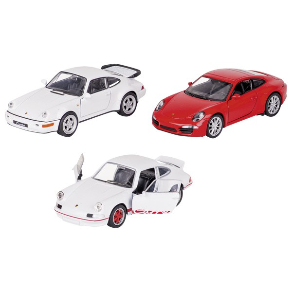 goki 12224 Porsche, Spritzguss, 1:34-39, L= 11,3 cm, Rückzugmotor (Farbe zufällig, 1 Stück)