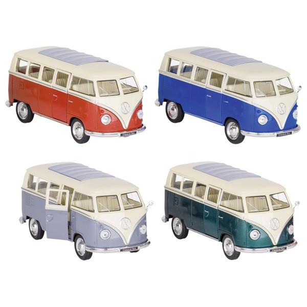 goki 12223 Volkswagen Bus T1 (1962), Spritzguss, 1:31, L= 13,5 cm, Rückzug (Farbe zufällig, 1 Stück)