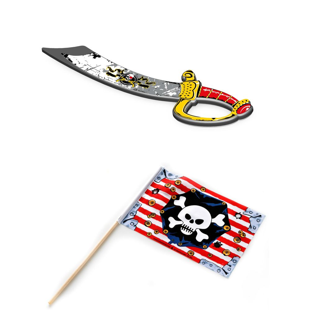 "BestSaller ""EVA Premium"" Piratensäbel ""Captain Old Curly"" & Liontouch Piraten-Flagge ""Totenkopf"", 2-teilig (1 Set) – Bild 1"