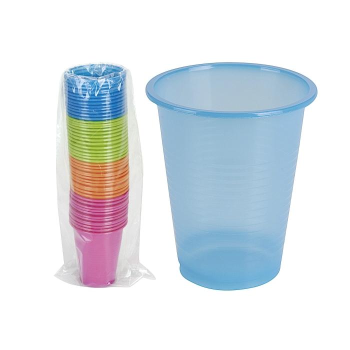 Einweg Trinkbecher, Kunststoff, 4 Farben, je 200 ml