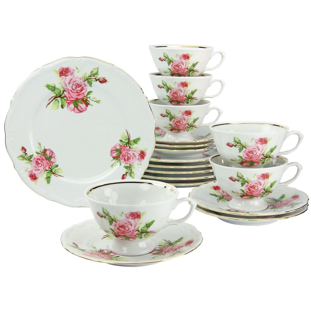Kaffeeservice Maria Theresia, rosa/gold (1 Set, 18-teilig)