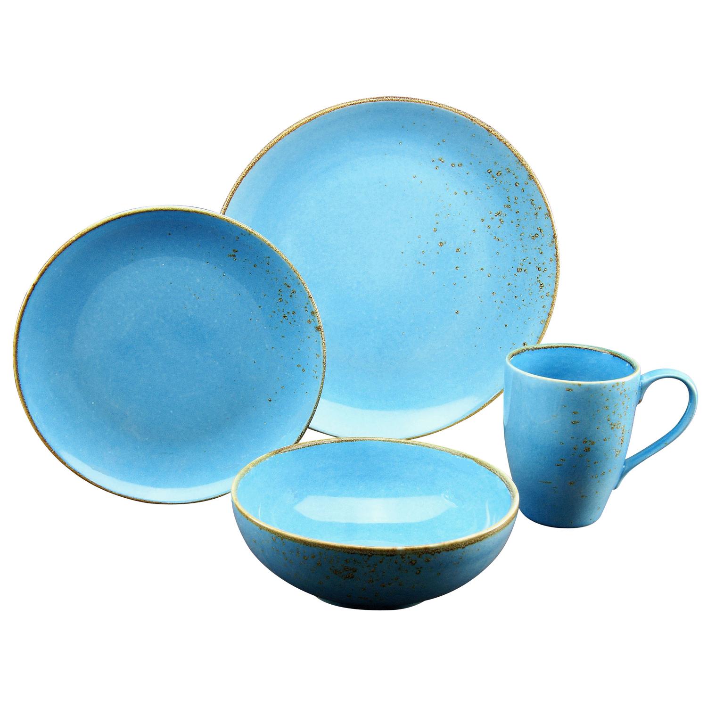 single-geschirr-set nature collection, blau/braun (1 set, 4-teilig