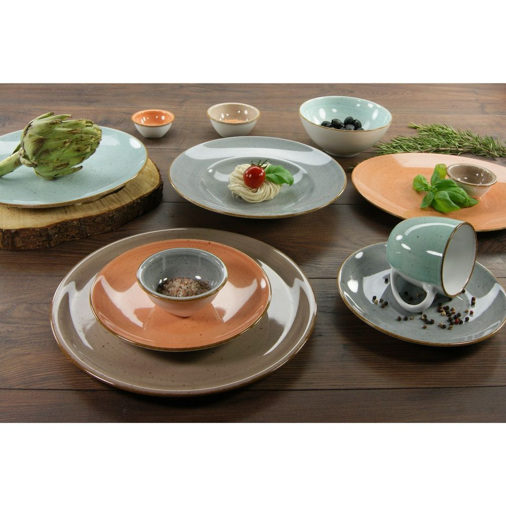 CreaTable 17692 Single-Geschirr-Set Vintage Nature für 1 Personen, Porzellan, steingrau (1 Set, 4-teilig) – Bild 2