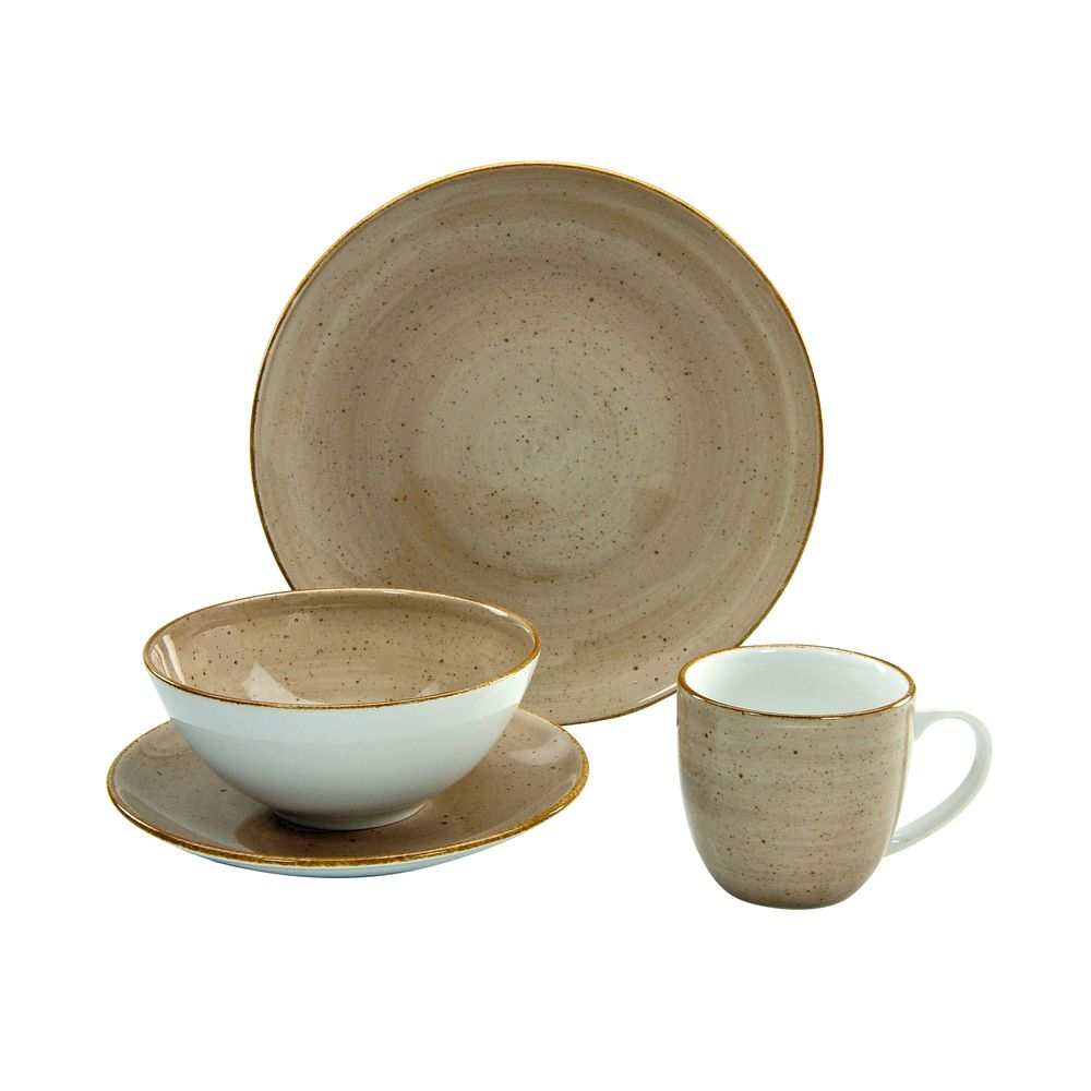 CreaTable 17694 Single-Geschirr-Set Vintage Nature, für 1 Personen, Porzellan (1 Set, 4-teilig) – Bild 1