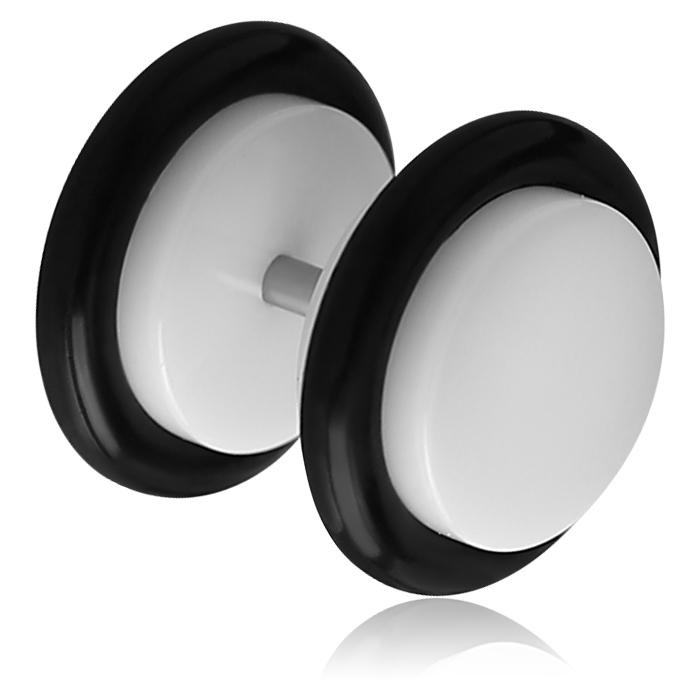 Fake Plug Carlotta UV Acryl glänzend schwarz weiß glänzend