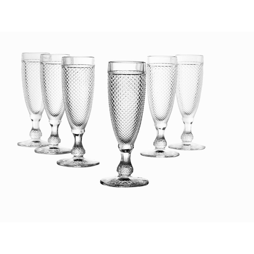 "CreaTable 16022 ""DIAMOND Atlantis"" Sektflöte, Glas, 140 ml (6er Pack)"